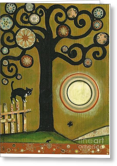Tuxedo Cat Greeting Card by Margaryta Yermolayeva