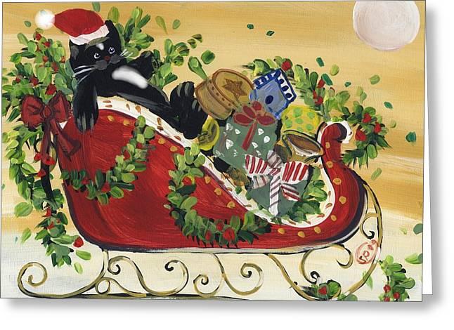 Tuxedo Santa Claus  Cat Greeting Card by Sylvia Pimental