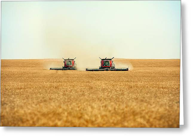 Twin Combines Greeting Card by Todd Klassy