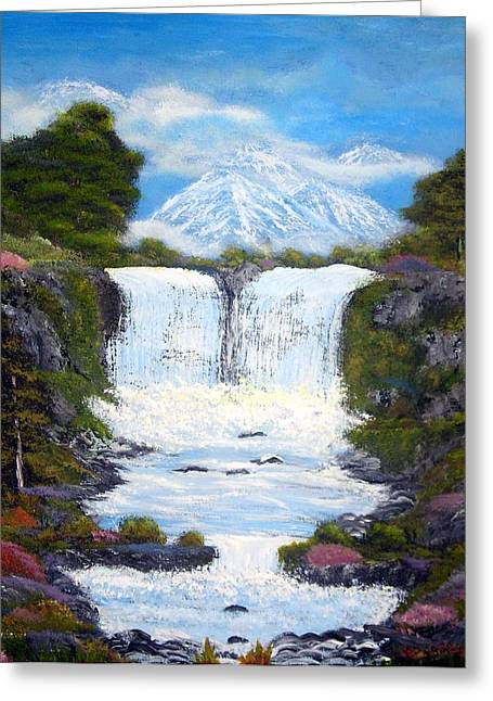 Twin Falls Greeting Card by Allison Prior