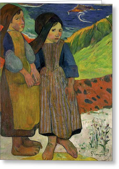 Two Breton Girls By The Sea Greeting Card by Paul Gauguin