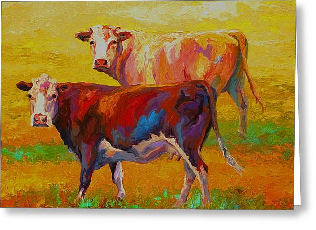 Two Cows Greeting Card by Marion Rose