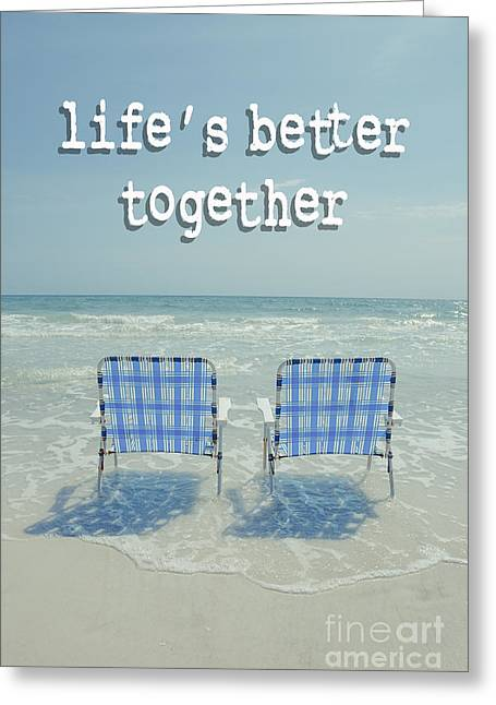Two Empty Beach Chairs Greeting Card
