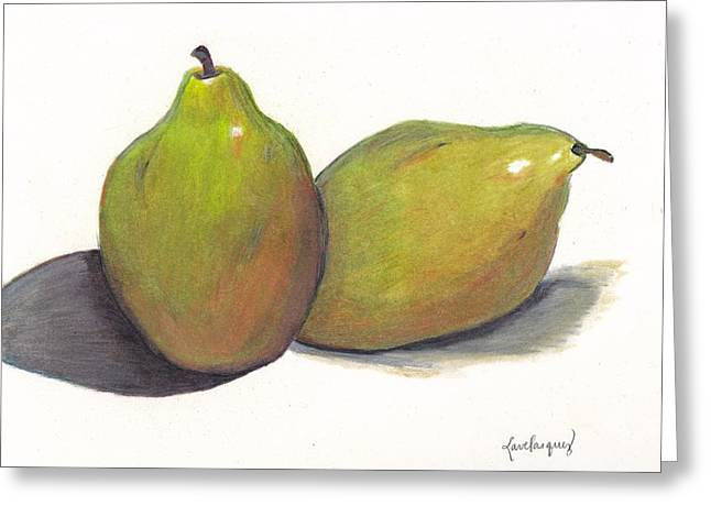 Two Green Pears Greeting Card by Lea Velasquez