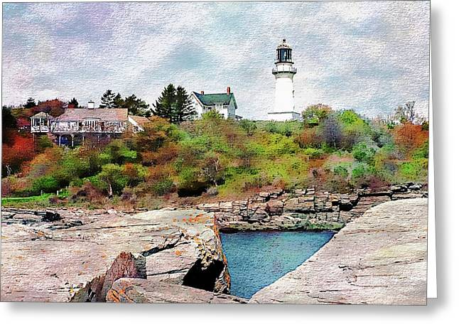 Greeting Card featuring the photograph Two Lights - Maine by Joseph Hendrix