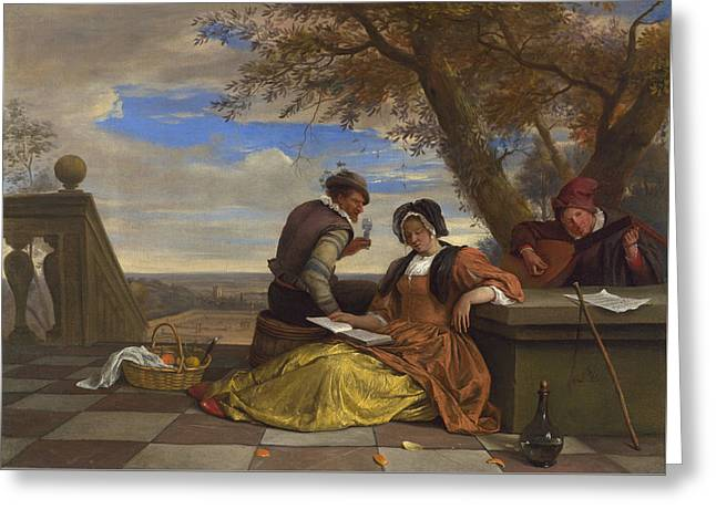 Two Men And A Young Woman Making Music On A Terrace Greeting Card