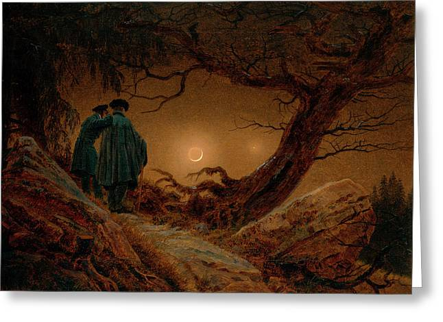 Two Men Contemplating The Moon Greeting Card by Caspar David Friedrich