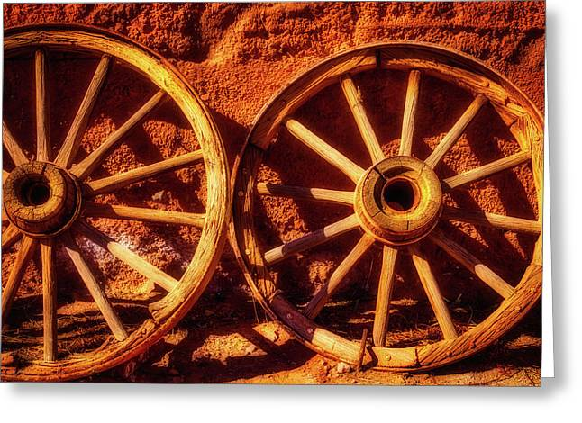 Two Old Wagon Wheels Greeting Card by Garry Gay