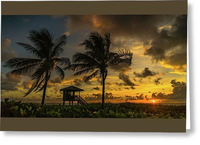 Two Palm Sunrise Delray Beach Florida Greeting Card