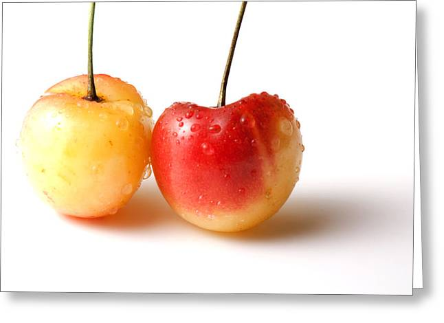 Wet Greeting Cards - Two Rainier cherries Greeting Card by Blink Images