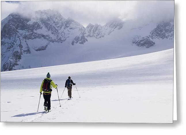 Two Skiers Ski Touring Greeting Card
