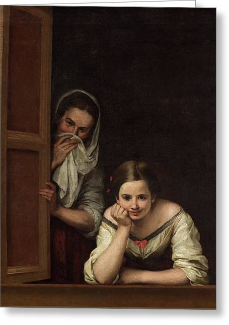 Two Women At A Window Greeting Card by Bartolome Esteban Murillo