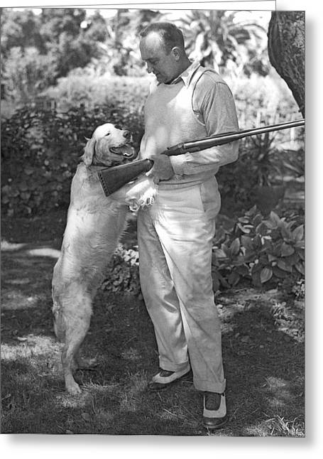 Ty Cobb With His Dog Greeting Card by Underwood Archives