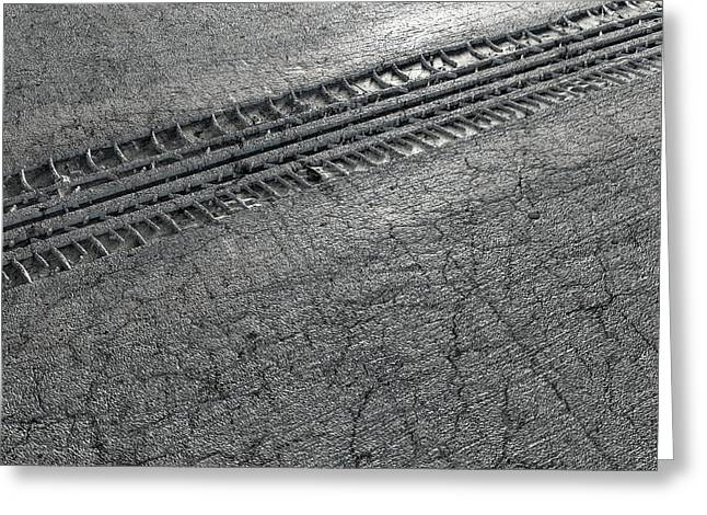 Tyre Track In The Ground Greeting Card by Allan Swart