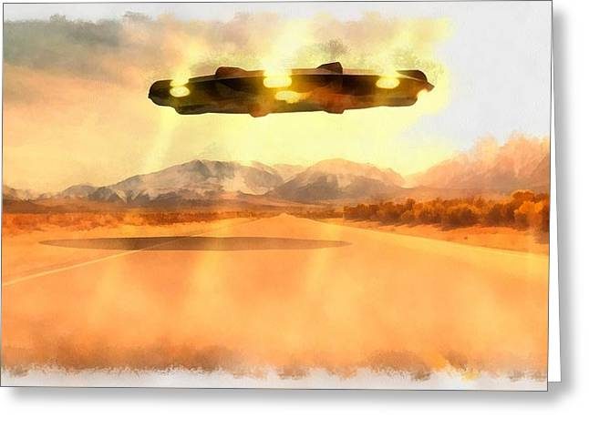 Ufo Over Highway Greeting Card by Esoterica Art Agency