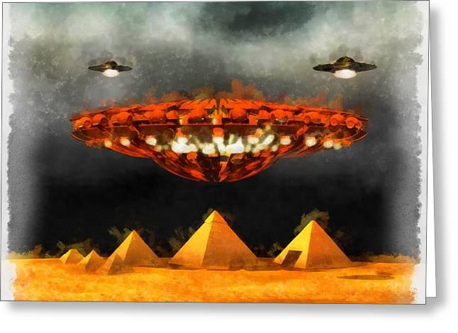 Ufos Over Pyramids Greeting Card