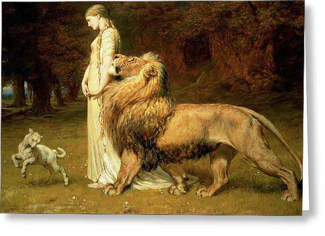Una And Lion From Spensers Faerie Queene Greeting Card