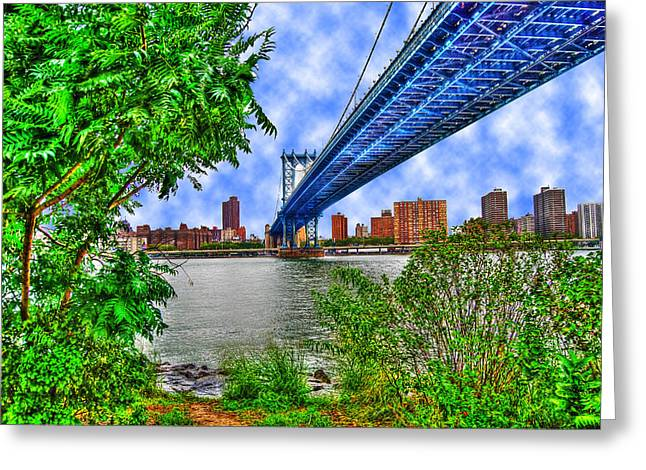 Under The Bridge Greeting Card by Randy Aveille