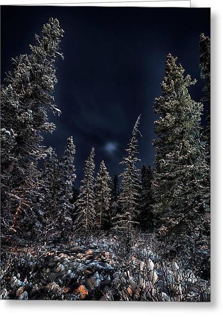 Under The Moon And Clouds Greeting Card