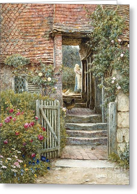Under The Old Malthouse, Hambledon, Surrey Greeting Card by Helen Allingham