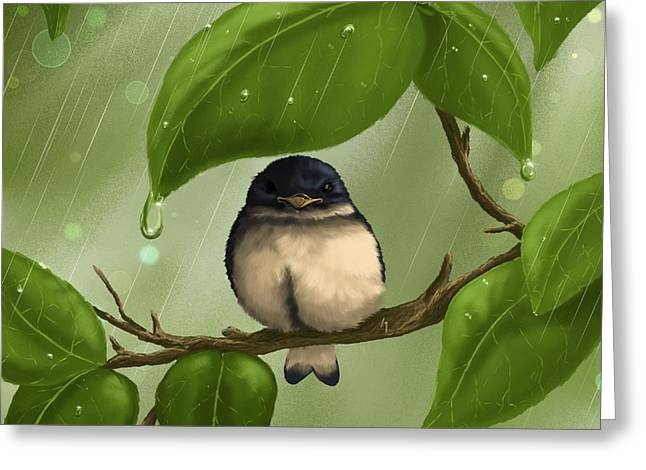Under The Rain Greeting Card by Veronica Minozzi