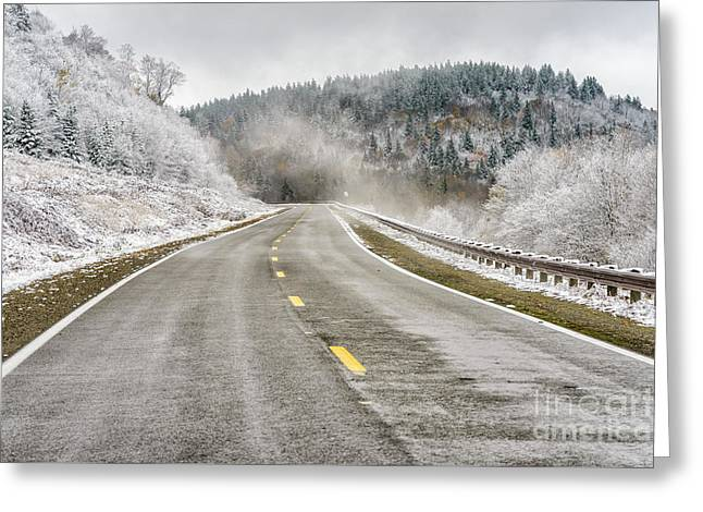Greeting Card featuring the photograph Unexpected Autumn Snow Highland Scenic Highway by Thomas R Fletcher