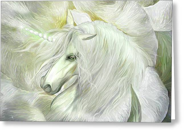 Greeting Card featuring the mixed media Unicorn Rose by Carol Cavalaris