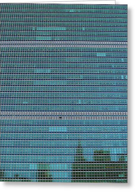 Greeting Card featuring the photograph United Nations Secretariat Building by Mitch Cat