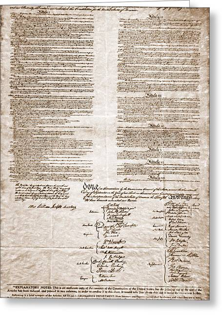 United States Constitution Greeting Card by Photo Researchers