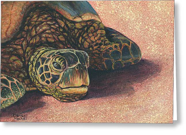 Greeting Card featuring the painting Honu At Rest by Darice Machel McGuire