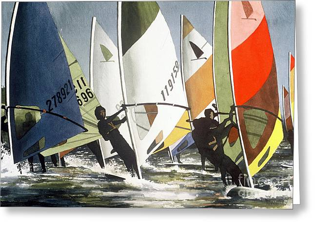 Upwind Leg Greeting Card by Frank Townsley