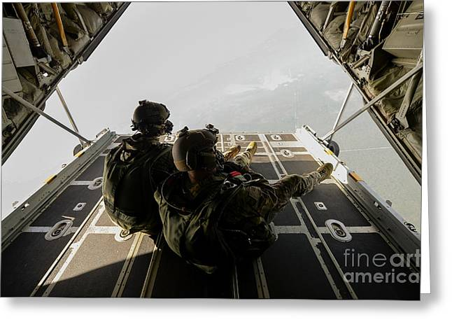 U.s. Army Green Berets Wait To Jump Greeting Card by Stocktrek Images