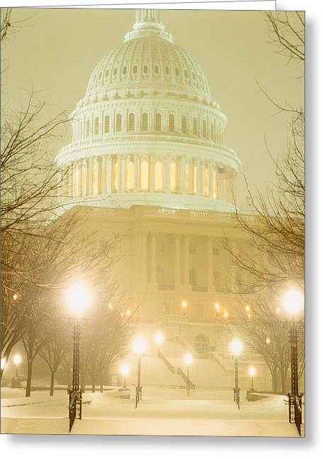 Us Capitol Building Illuminated Greeting Card by Panoramic Images
