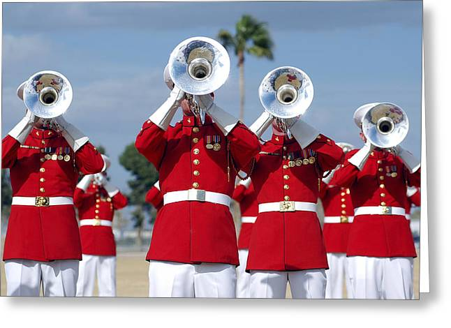 U.s. Marine Corps Drum And Bugle Corps Greeting Card by Stocktrek Images