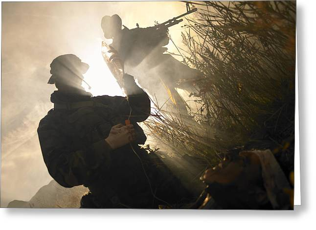 Battleground Greeting Cards - U.s. Navy Seals Give First Aid Greeting Card by Tom Weber