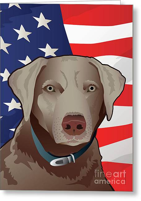 Usa Silver Lab Greeting Card