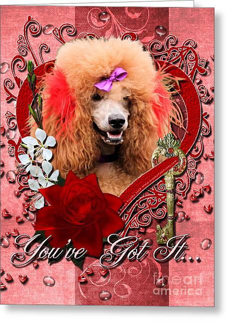 Valentines - Key To My Heart Poodle Greeting Card by Renae Laughner