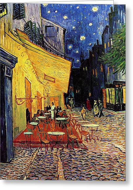 Van Gogh Cafe Terrace Place Du Forum At Night Greeting Card by Vincent Van Gogh