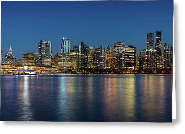 Greeting Card featuring the photograph Vancouver City Twilight by Pierre Leclerc Photography