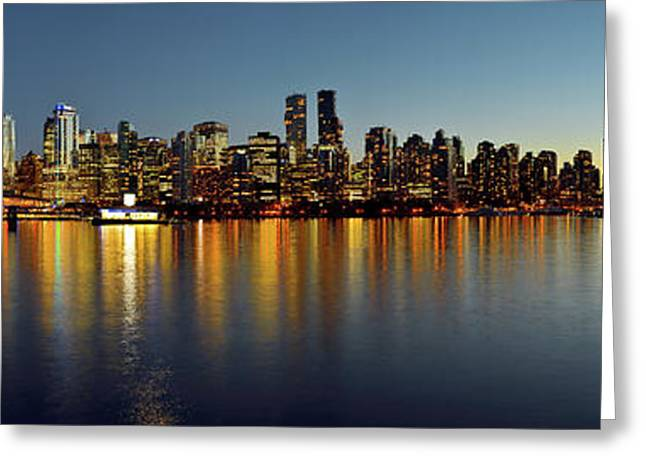 Vancouver Downtown Skyline At Dusk Greeting Card