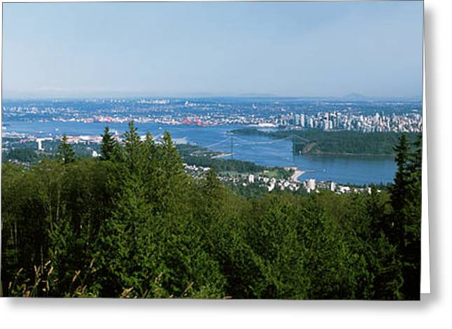 Vancouver Viewed From From A Far Greeting Card by Panoramic Images