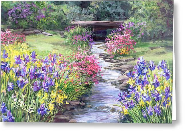Vandusen Garden Iris Bridge Greeting Card by Laurie Hein