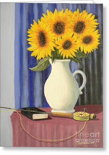 Vase Of Sunflowers Greeting Card by Don Lindemann