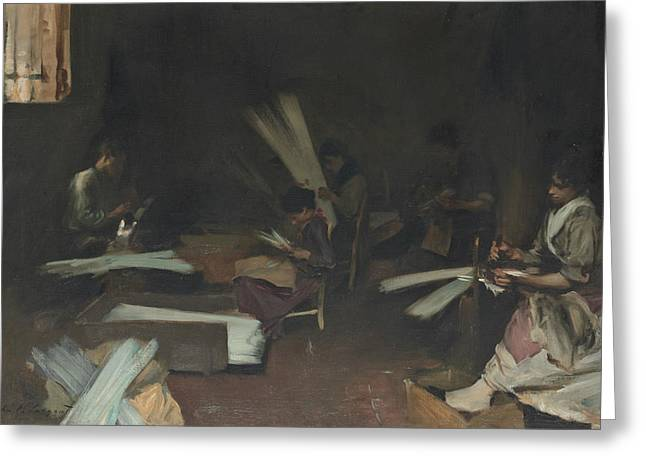 Venetian Glass Workers  Greeting Card by John Singer Sargent