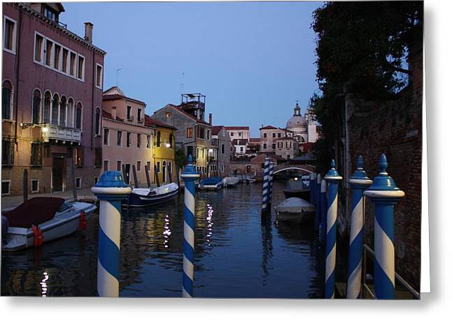 Venice At Night Greeting Card by Pat Purdy