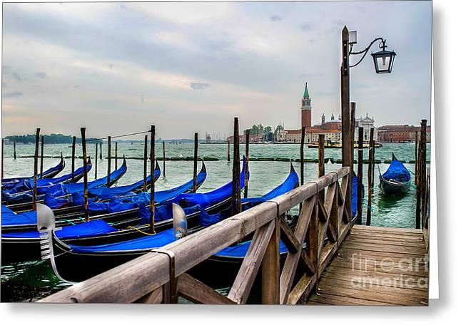 Venice Canal Gondolas  Greeting Card by Ken Andersen