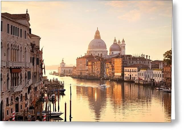 Greeting Card featuring the photograph Venice Grand Canal View by Songquan Deng