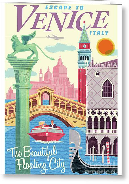 Venice Poster - Retro Travel  Greeting Card
