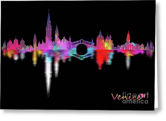 Venice Skyline  Italy -night Greeting Card