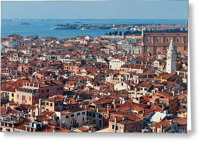 Greeting Card featuring the photograph Venice Skyline Panorama Viewed From Above  by Songquan Deng